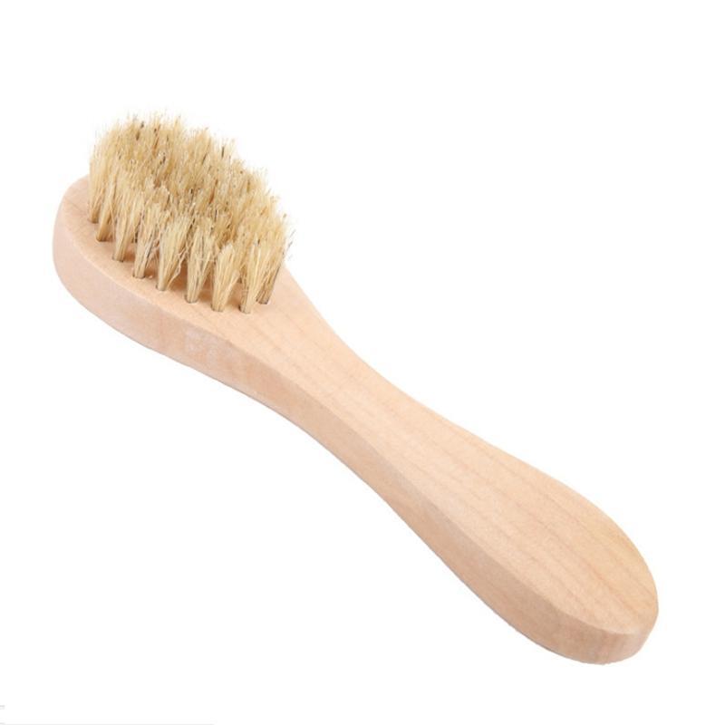 Cepillo de limpieza de la cara para la exfoliación facial Cerdas naturales Limpieza de cepillos de limpieza Secar cepillado Fregador con mango de madera FFA0001