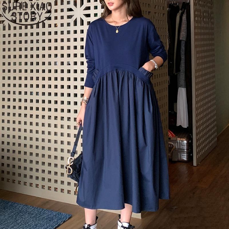 Kadın Artı Boyutu XL-5XL Bayanlar Uzun Kollu Fırfır Cebi O Boyun Gömlek Elbise Bahar Sahte Iki Parçalı Örgü Vestidos Mujer 13345 210421
