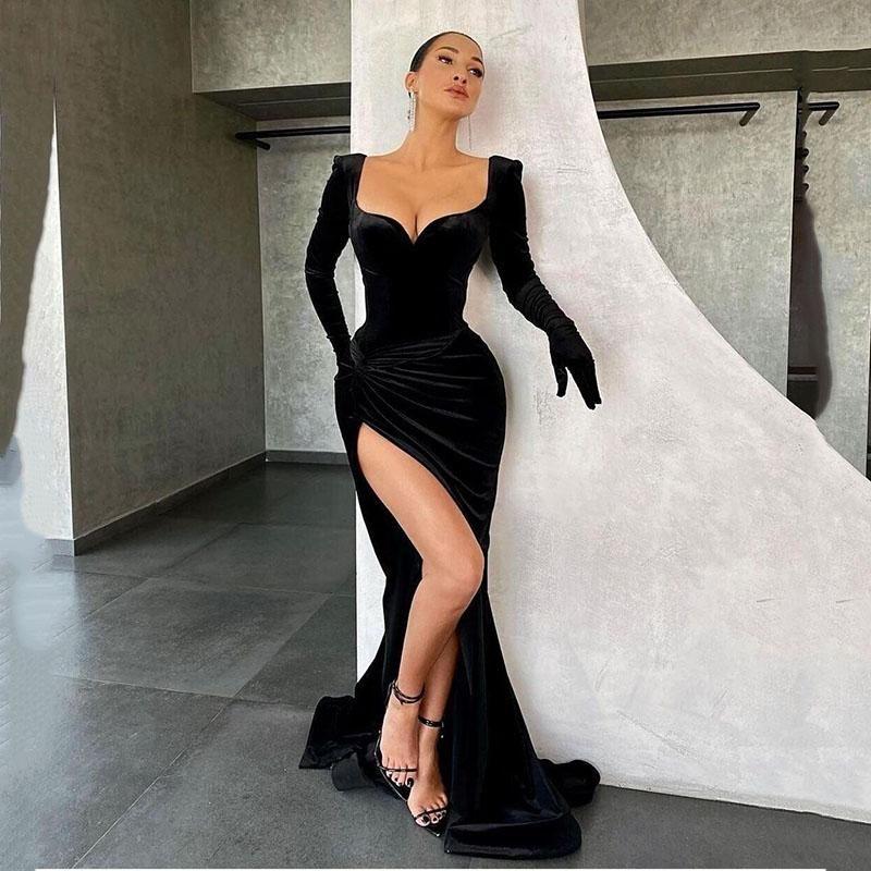 Eightree 간단한 벨벳 이브닝 드레스 긴 소매 높은 슬릿 댄스 파티 드레스 블랙 인어 정식 여성 가운 사용자 정의 만든