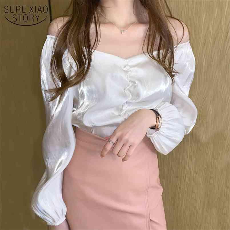 قميص أبيض الخامس الرقبة الكورية الملابس الخريف قمصان الحرير المرأة البلوزات طويلة الأكمام خمر بلوزات بلوساس وزرة للنساء 10542 210506