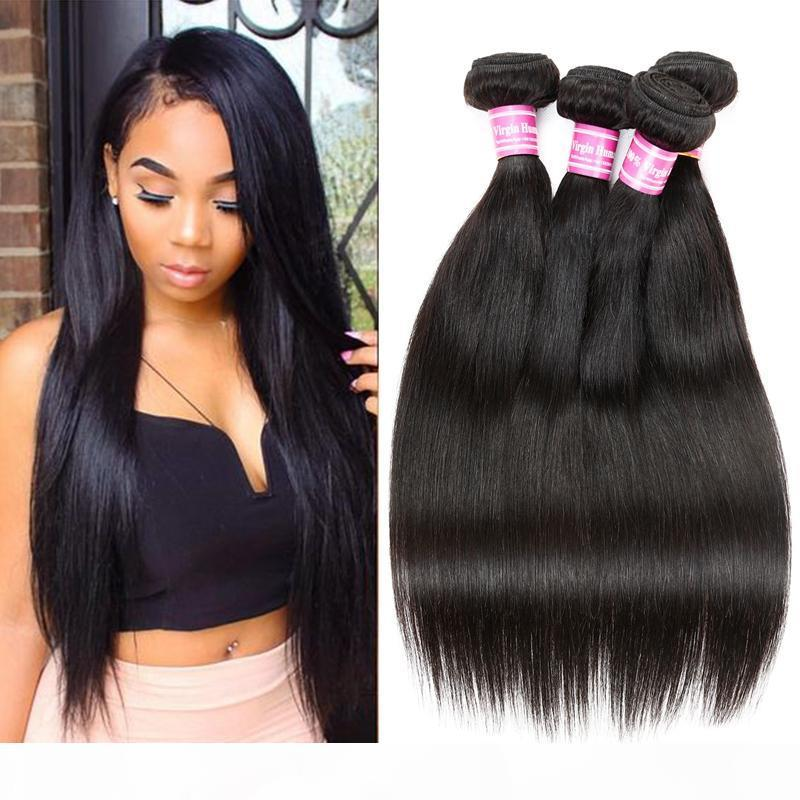 Wholesale Cosy Straight Human Hair Wefts Bundles Brazilian Peruvian Malaysian Unprocessed Virgin Hair Extensions 4 Bundles Soft and Dyeable