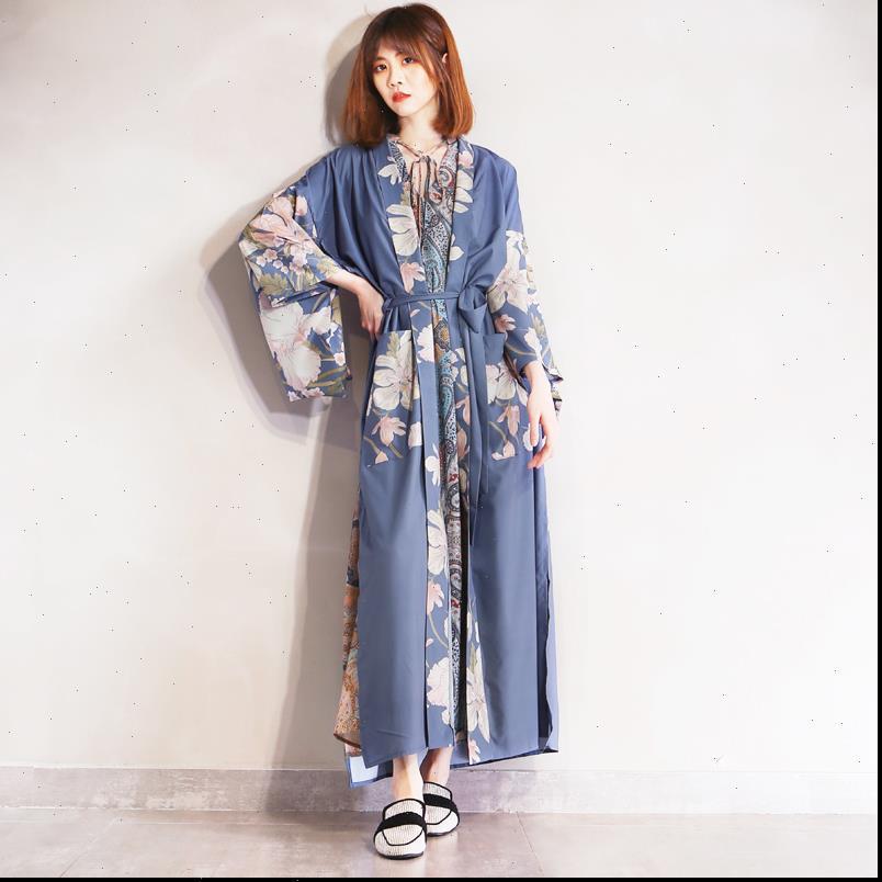 Bohemian v kadın gömlek boyun tavuskuşu çiçek baskı uzun kimono etnik bağcık up sashes hırka gevşek