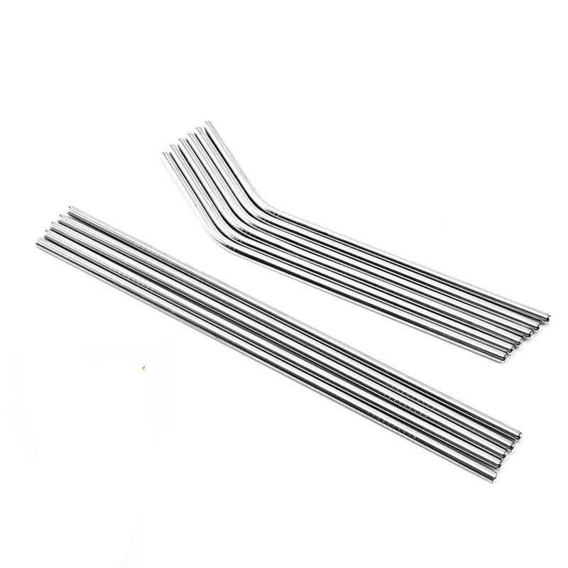 Durable Stainless Steel Straight Bent Drinking Straw Curve Metal Straws Bar Family kitchen For Beer Fruit Juice Drink Party Accessory 58 H1