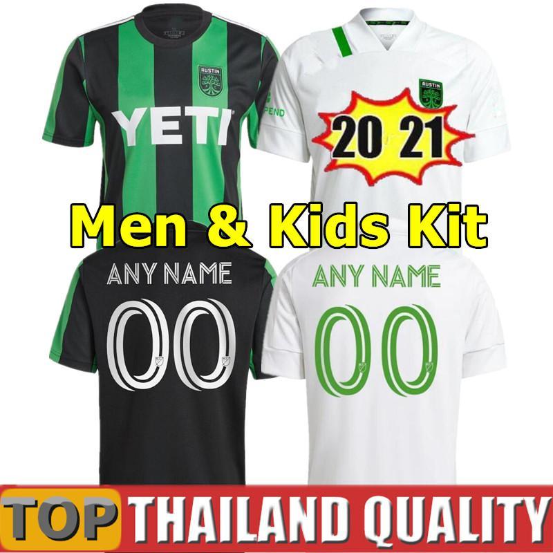 Fanlar oyuncu sürümü 2021 Austin FC Futbol Formaları Açılış MLS 20 21 22 Bold Dario Conca Kleber Xavier Baez Özelleştirmek Futbol Gömlek Seti Erkekler Kids Kiti Üniforma