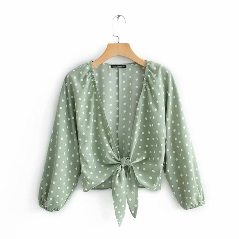 Donne Fashion Polka Dot Stampa annodata corta camicetta Female Lanterna manica camicia casual chemise estate Blusas Tops LS3746 210420