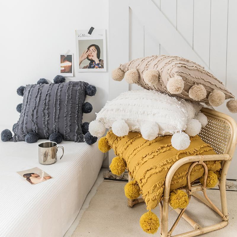 Sitz floral quasten kissenbezug mit pompom gelb grau weiß dekorative kissenbezüge Wohnkultur Dekokissenbehälter 45x45cm LLS135-WLL