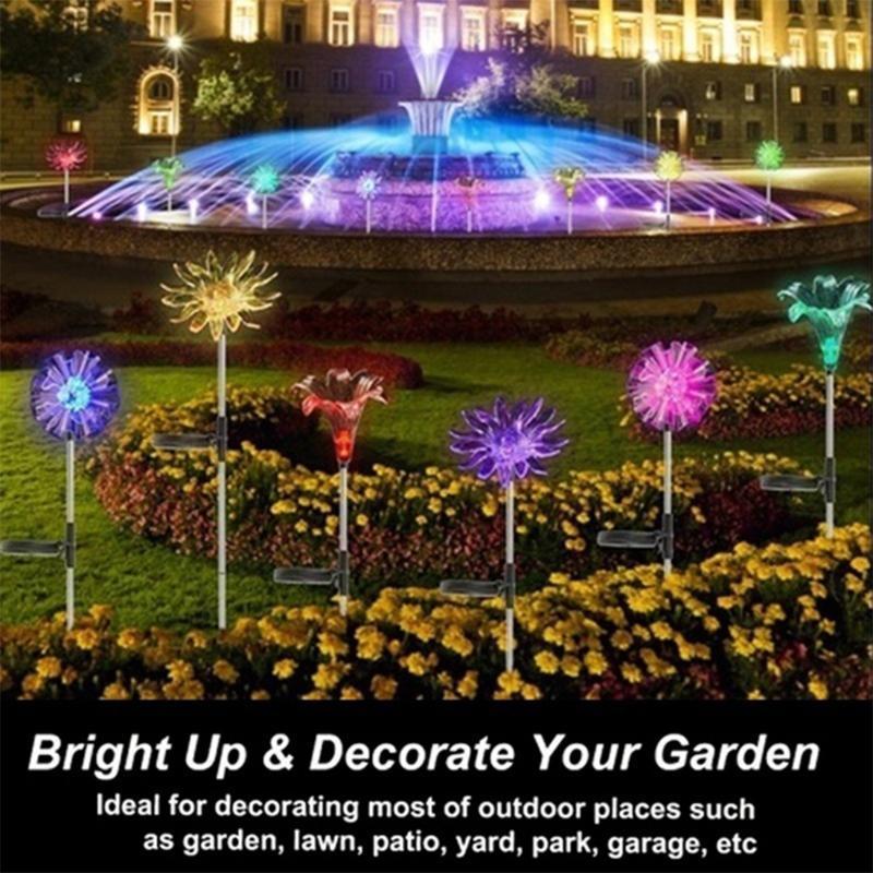Solarlampen 3 teile / satz Powered Löwenzahn Lilie LED String Fee Helle Outdoor Gartenzaun Patio Weihnachtsgirlandlichter
