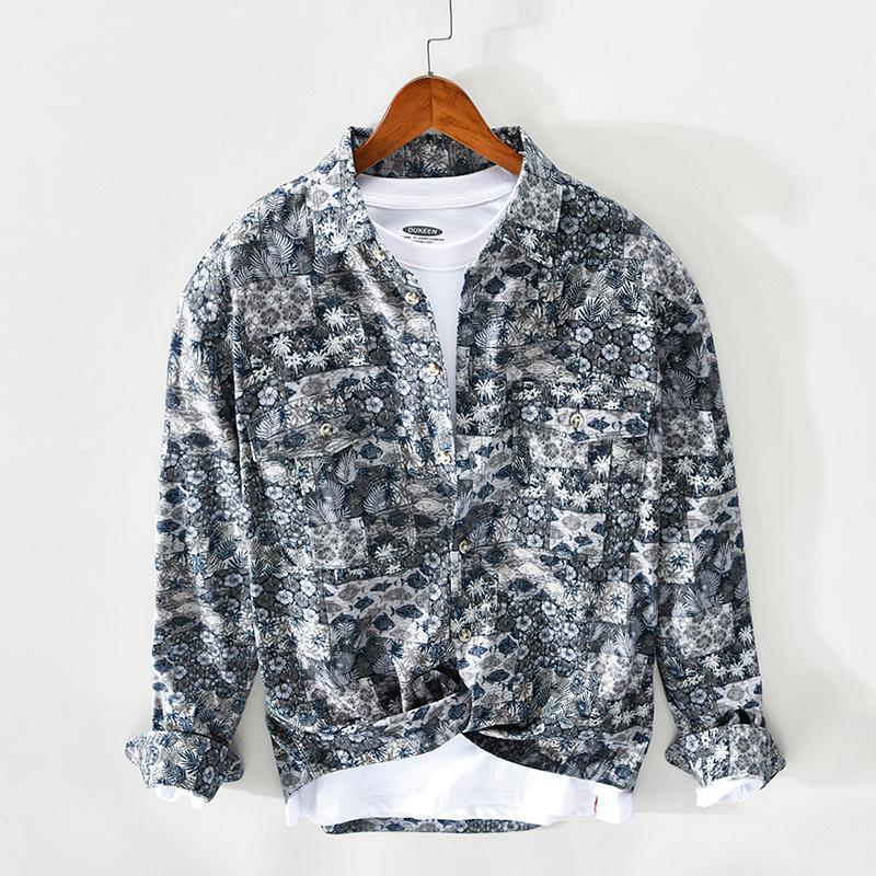 패션 streetwear 남자 셔츠 고품질 봄 가을 긴 소매 캐주얼 코튼 열 대 꽃 인쇄 셔츠 Hombre 남자