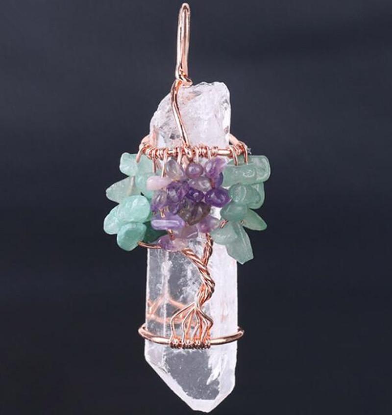 Büyük Taş Kolye Kadın Doğal Beyaz Kristal Kuvars 7 Çakra Hayat Ağacı Gül Altın El Yapımı Tel Sarılmış Kolye Charms Epacket682 T2