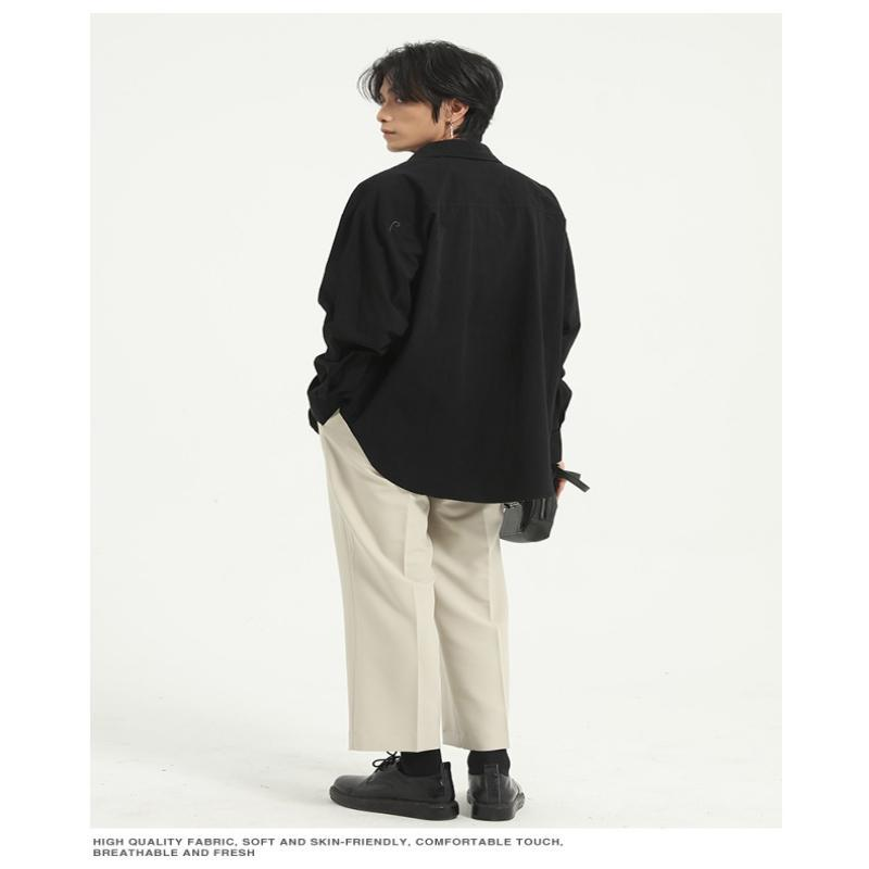 가을 패션 캐주얼 재킷 한국어 버전 느슨한 질감 솔리드 컬러 모든 일치 셔츠 남성 셔츠