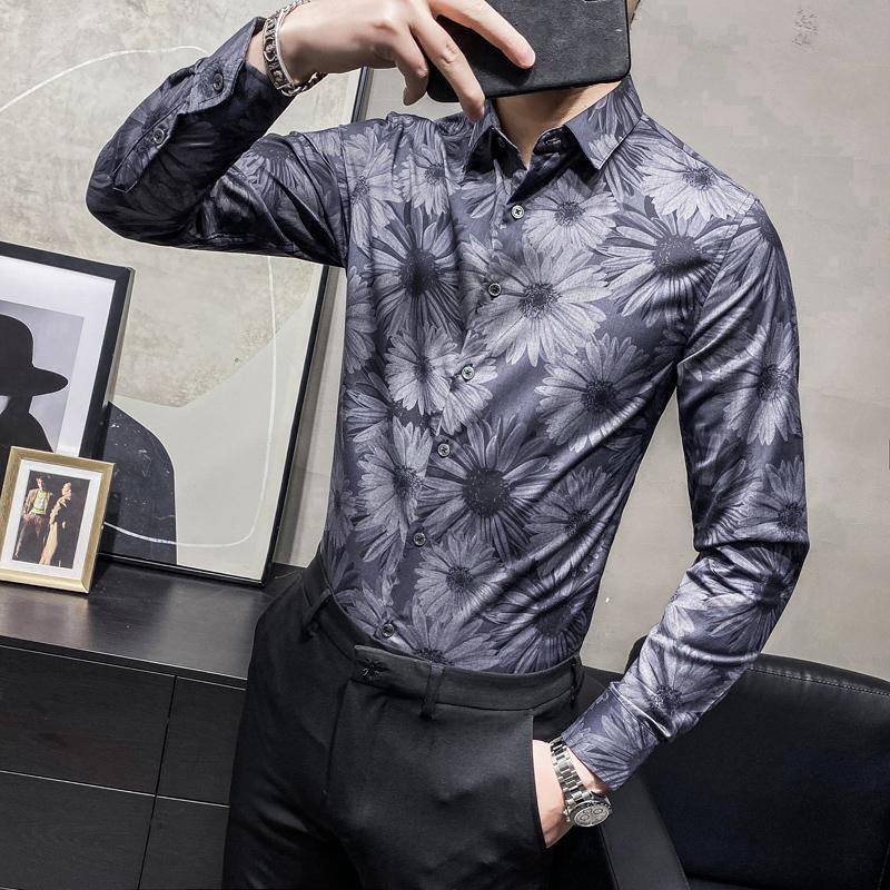 남성용 플로럴 셔츠 비즈니스 캐주얼 슬림 피트 드레스 셔츠 패션 긴 소매 사회당 블라우스 사무실 작업 의류 남성