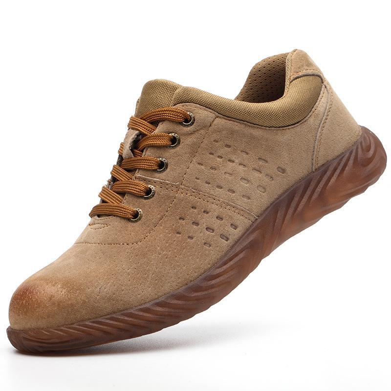 Non-Brand Mens Women Safety Zapatos de seguridad Alto Top Low Top Amarillo Amarillo Anti-Smash Anti-Stab Piel de cerdo Soldador eléctrico Solación de jalea Solución de seguridad 36-45