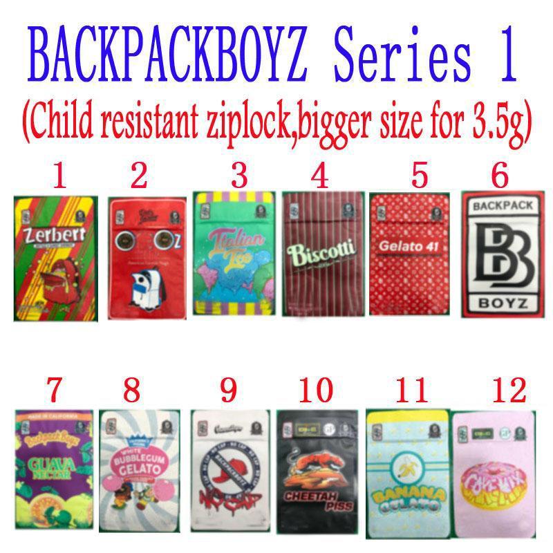 Backpackboyz 3.5g رائحة برهان أكياس مايلر مقاومة الأزرق Boyz Biscotti Gelato 41 Guarana Billy Kimber Zerbert Gelatti