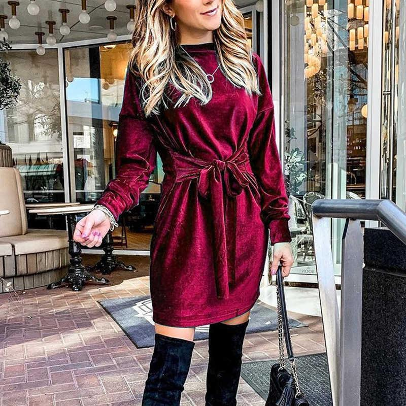 Frauen Langarm O Neck Solid Party Kleid Frauen Stretch Weiche Kleider Für Frauen Hohe Taille Damen Kleid mit Gürtel 210603