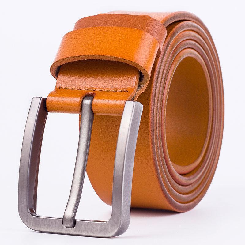 Cinturones Hombres Cuero genuino Hebilla de Pin de Cowloather Cowleather Para Vestido Casual Vintage Trabajo Correa HQ214