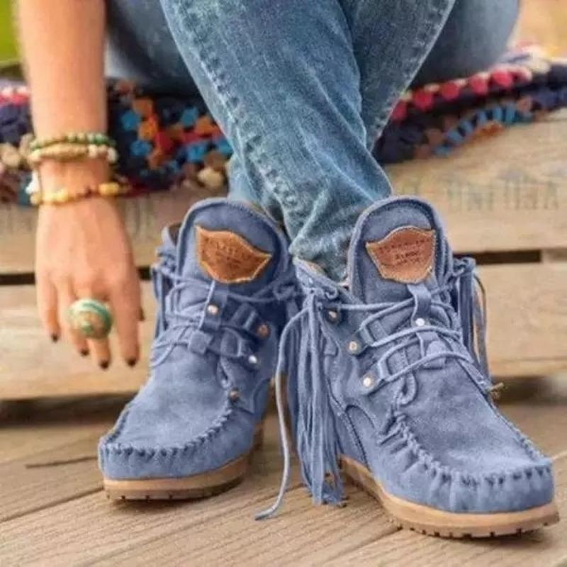 Boots Women Ankle Retro Medieval Faux Suede Leather Tassel Short Boot Lace Up Round Toe Western Cowboy Casual Winter Shoes