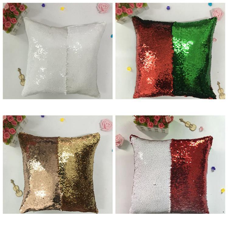 Newsequin Yastık Kılıfı Glitter Mermaid Yastık Kapakları Döner Sequins Yastık Kokulu Büyülü Renk Ev Dekor EWB5997