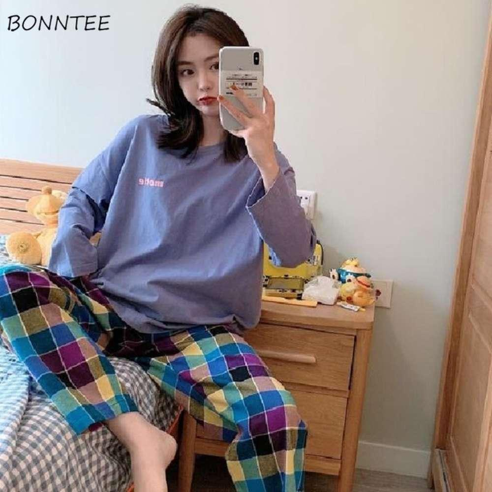 Pyjama Sets Frauen Chic Plaid Einfache Lässige weiche Langarm-Frühlings-Fallen-Dame Sleepwear Daily Ulzzang Beliebte weibliche Homewear PJs