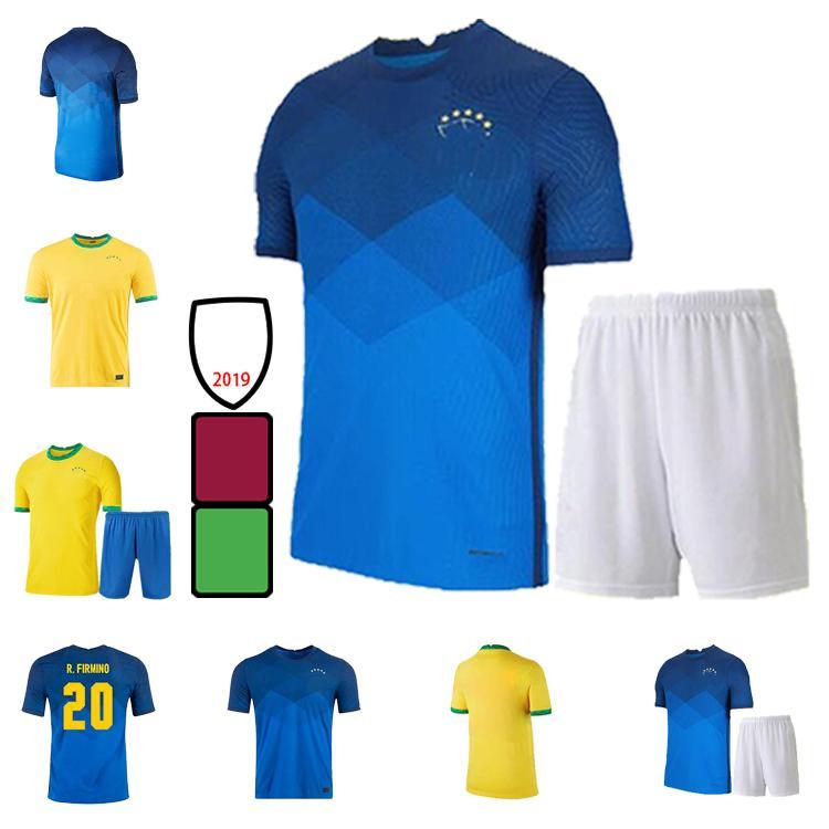 2021 Camiseta de Futbol Paqueta Neres Coutinho Brasile Camicia da calcio Firmino Jesus Soccer Jersey Marcelo Pele Brasil 21 22 Maillot de Foot Uomo + Kid Kit