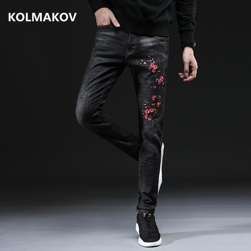 Men Classic Black Jeans Business Casual With Flowers Embroidered Men's Denim Stretch Skinny Pants