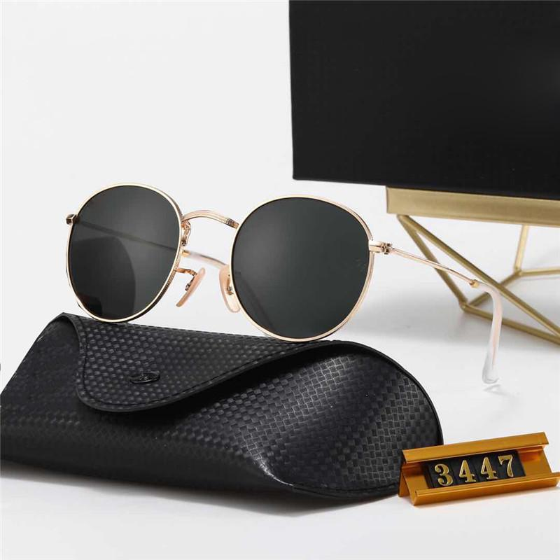 2021 5A + Qualität Klassische Runde Sonnenbrille Marke Design Ray Männer Frauen Vintage Pilot Sonnenbrillen Band UV400 Bans Ben 3447 Eyewear Polaroid Glas Objektiv mit Kasten und Fall