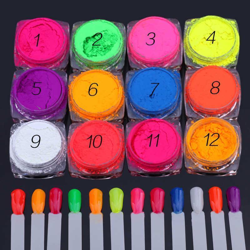Chiodo glitter 12 scatole / lotto al neon polvere ombretto polvere fluoresencence effetto pigmento cromato decorazione fai da te