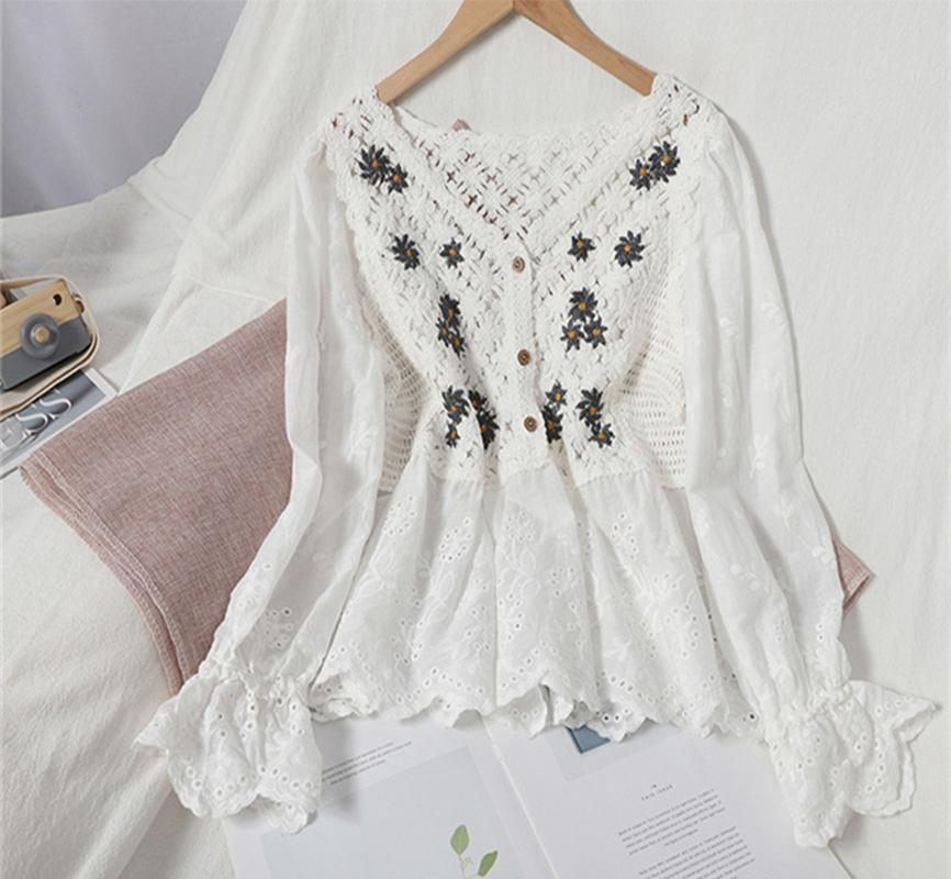 Sexy Hollow Out Women's Blouses For Women Autumn Elegant V-neck Single-breasted Patchwork Shirt Female Flare Long Sleeve Beige