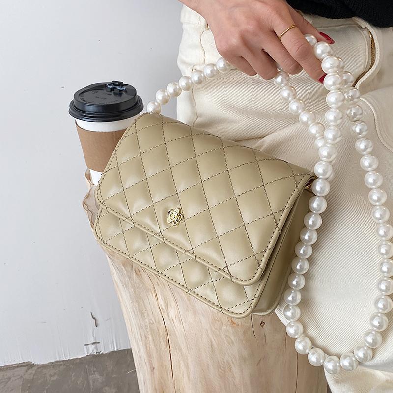 원래 브랜드 진주 체인 가방 여성 2021 패션 메신저 Rhomboid Square Shoulder Bags