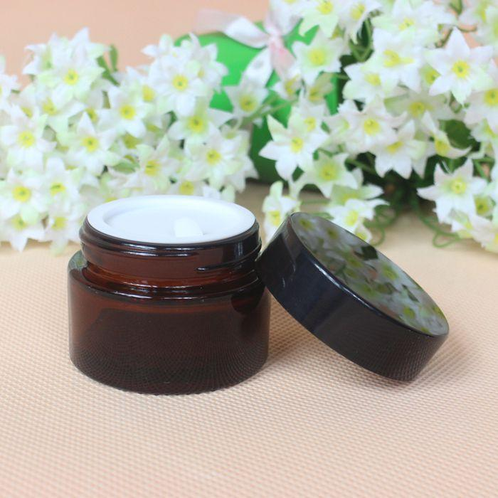 30ml Empty Refillable Brown Glass Cosmetic Face Cream Lip Balm Storage Jars Container Bottle Pot with Liners and Screw Black Lid