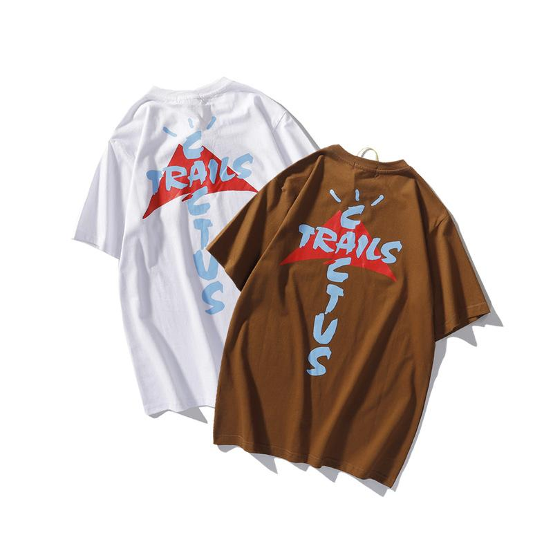Mode T-shirt Travis Scott Tee Hommes et Femmes Haute Qualité Teinture Hip Hop Cactus Cactus manches courtes
