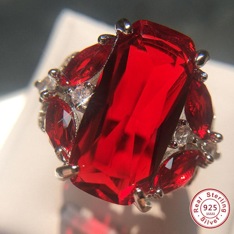 Cluster Rings Gifts Fashion Female Real Sterling Sier Color Jewelry Ring Have 925 Stamp Aaa Big Red Cz Stone Wedding for Women Party