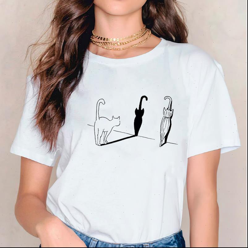 Kedi Hayvan Sevimli Komik Bayan T Gömlek Baskı 90s Kısa Kollu Baskı Grafik Kadın Tee