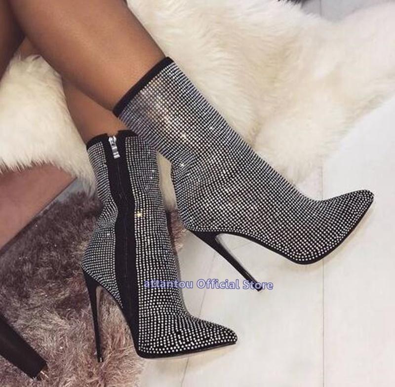 Boot kristal siyah sıska burun sivri kısa çizmeler bahar kadın düşmek yüksek topuklu bling elmas ayak bileği daha fazla boyutu 46
