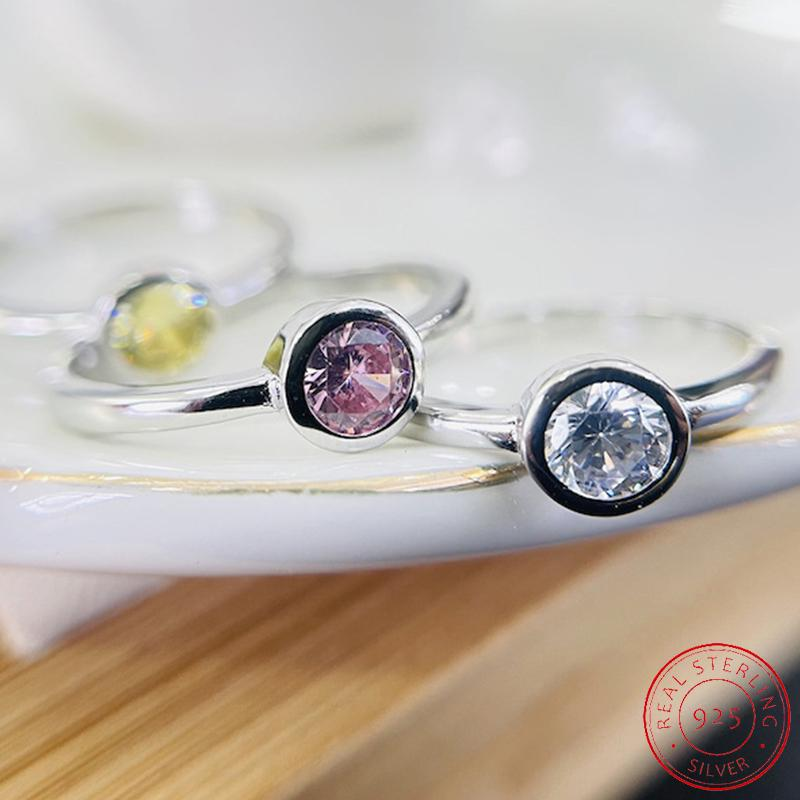 Cute Female Small Round Zircon Stone Ring Vintage 925 Silver Wedding Jewelry Promise Crystal Engagement Rings For Women XR551