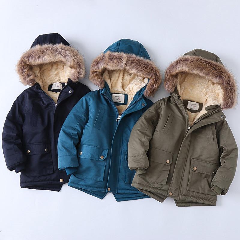 Подросток новые зимние куртки для мальчиков Одежда с длинным рукавом с капюшоном для девочек с капюшоном Пальто Детская одежда детское пальто меховые теплые дети верхняя одежда 1195 x2