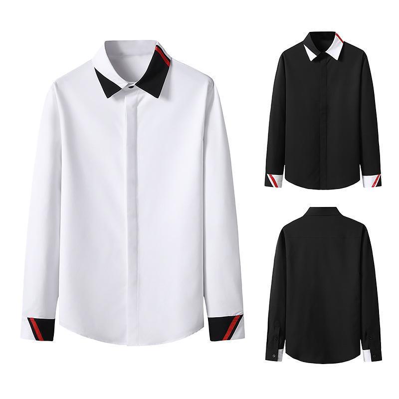 남자 일치하는 색상 비즈니스 스타일 긴 소매 셔츠 캐주얼 셔츠