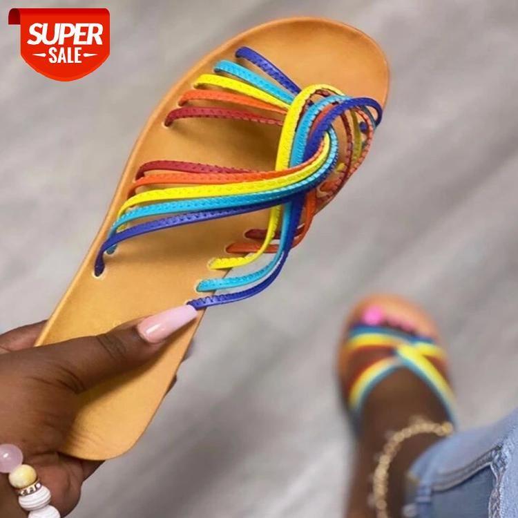 2021 Summer Female Sandals Fashion Lace Up Flat Sandal Non-Slip Wild Cute Beads Flower Casual Band Ladies Sandalias De Mujer #091R