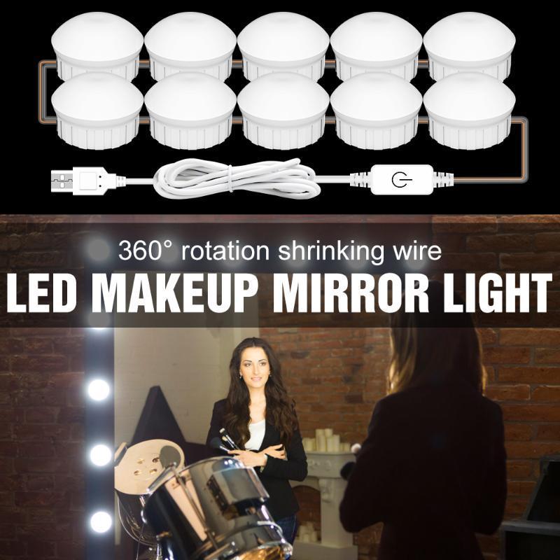 벽 램프 LED 메이크업 미러 라이트 USB 12V 메이크업 전구 2 6 10 14 PCS 화장실 캐비닛에 대 한 화장실 화장품 조명