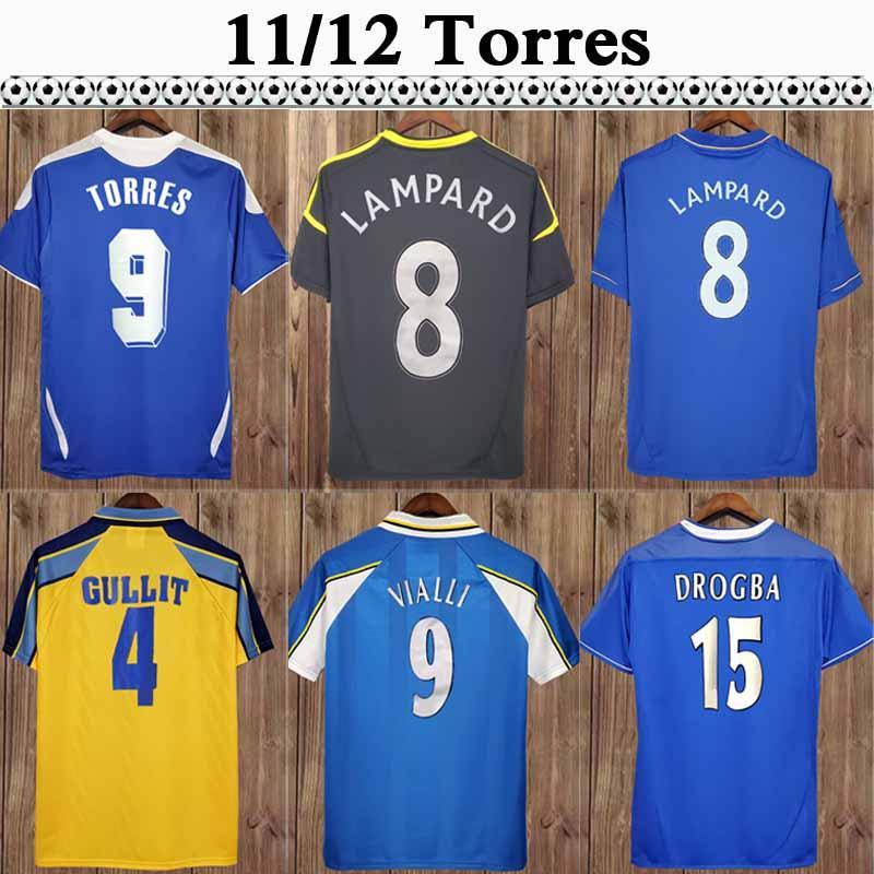 11 12 Torres Mata Daviid Luiz Ivanovic Jerseys Mens Home Home Soccer 03 05 Robben Drogba Lampard Crespo Chemise de football à manches longues à manches longues