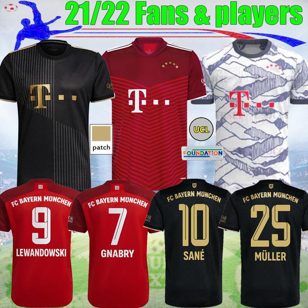 21 22 Bayern Lewandowski Fussball Jersey Fans Spielerversion Sane Coman Gnabry Alaba Davies Müller München 2021 2022 Tops Football Hemd S-4XL