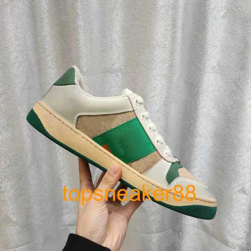 2021 Klasik Kadın Ayakkabı Screener Kirli Kadın Sneaker Adam Rahat Moda Deri Lace Up Beyaz Erkekler Tasarım Ayakkabı