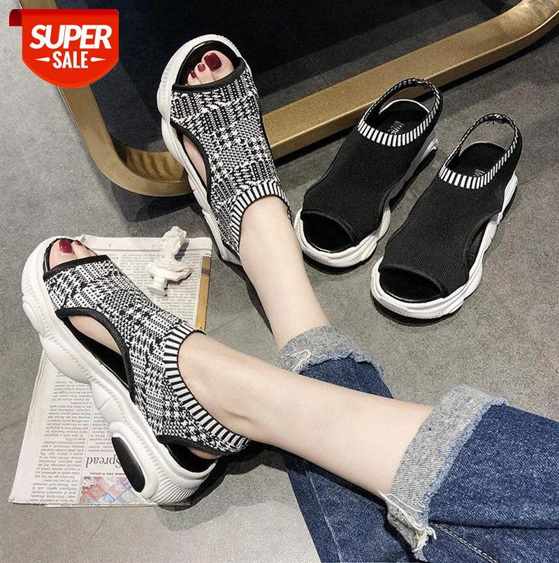 Knitted Elastic Mesh Open toe Platform sandals women 2019 Summer shoes Fashion Hollow Slip-On Gingham Casual female #Uj6X