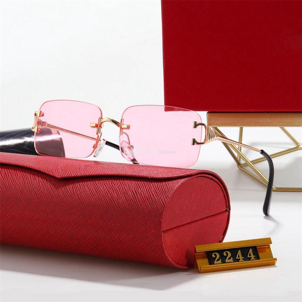 2021 Neueste rahmenlose design polarisierte luxus sonnenbrille männer frauen pilot sonne uv400 brille brille metall rahmen 2244 Polaroidobjektiv mit Box