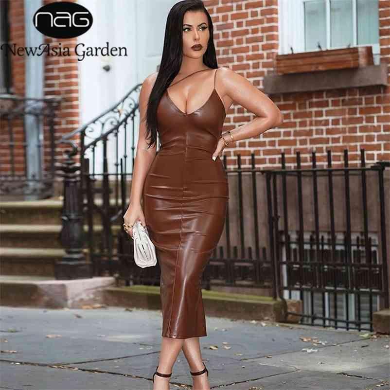 NewAsia Summer Brown PU Vestido de cuero Mujeres Sexy Spaghetti Correas con cuello en V Backless Midi Bodyocn Party Club Club Largo Nuevo 210409