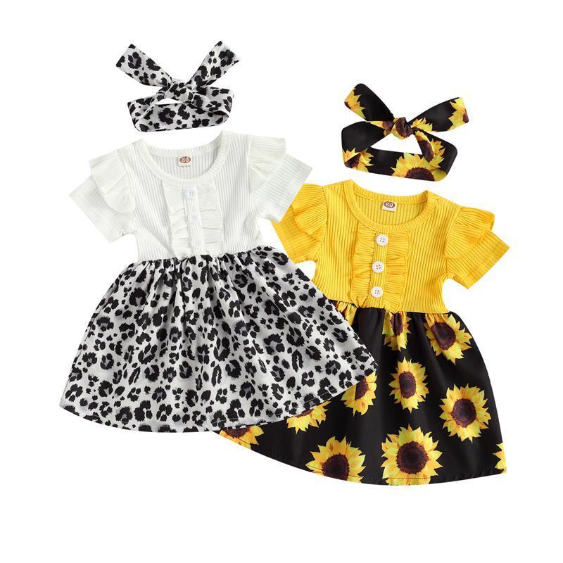 Летние младенческие девочки платье подсолнухи / леопардовый принт.