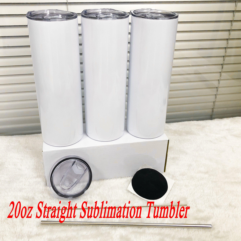 50 stücke 20z sublimation gerade tassen leere edelstahl flasche diy becher vakuum isoliert auto kaffee tumbler