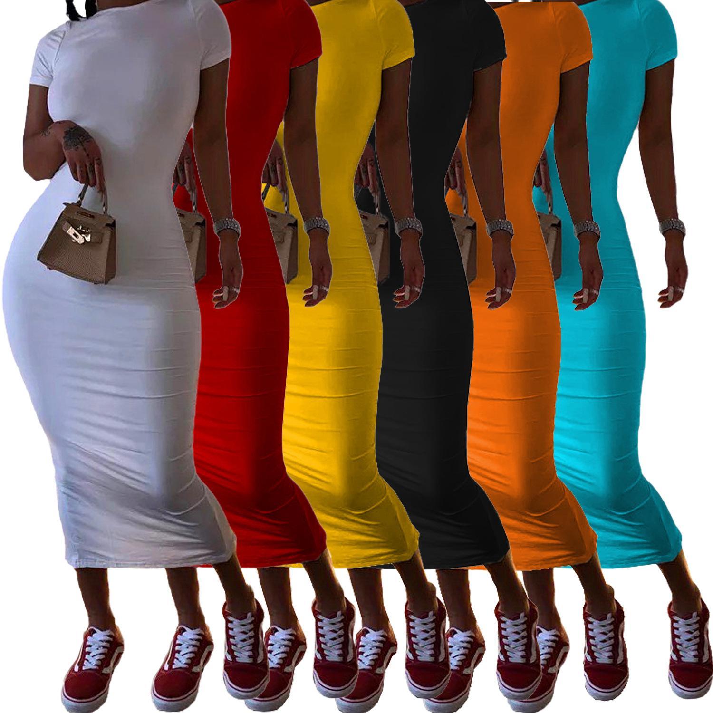 إمرأة عارضة فساتين شيرت الصيف بلون البلوز س الرقبة قصيرة الأكمام عالية الخصر فستان طويل للنساء
