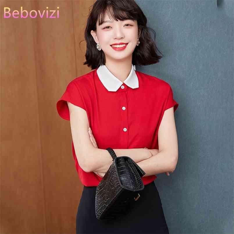 BEBOVIZI S-XXL Korean Mode rot weiße Chiffon Sommer Button Up Casual Hemden Tops für Frauen Büro Dame Arbeitskleidung 210603