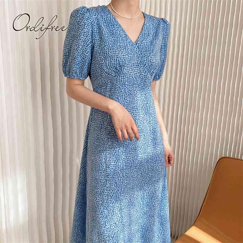 Sommer Vintage Blau Sommerkleid Frauen Lange Kleid Kurzarm Retro Drucken Berufung Tunika Maxi 210513