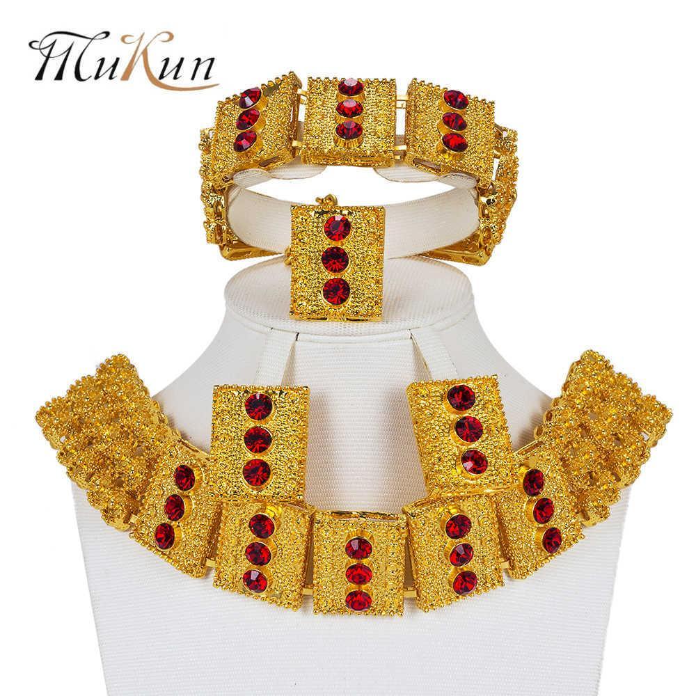 Mukun تركيا مجوهرات كبيرة نيجيريا المرأة مجموعات مجوهرات دبي لون الذهب والمجوهرات مجموعة الزفاف الزفاف الخرز الأفريقي الملحقات تصميم 210619